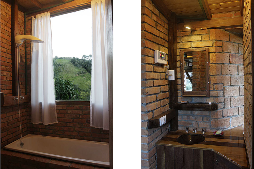 Casinha Pousada Pedras Rollantes área de banho e lavabo