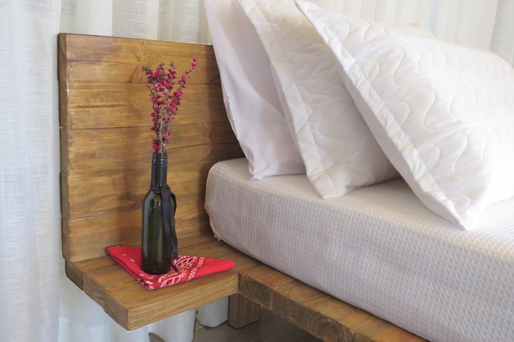 Casa Enxaimel no sitio Pedras Rollantes em Alfredo Wagner, na foto detalhe da cama do Estudio Nascente.